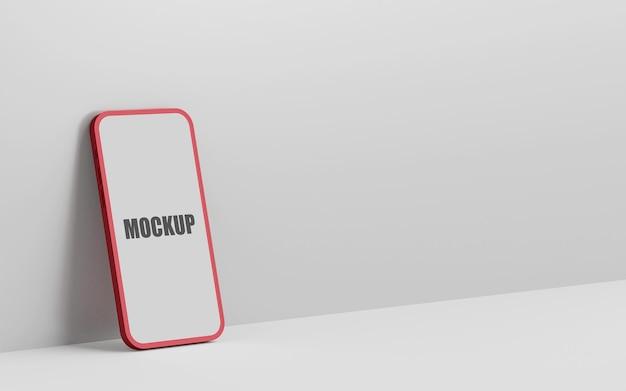 最小限の空の画面のスマートフォンのモックアップレンダリング