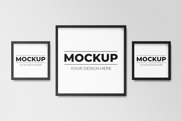 Minimal empty square black frame picture mockup hanging on white wall background