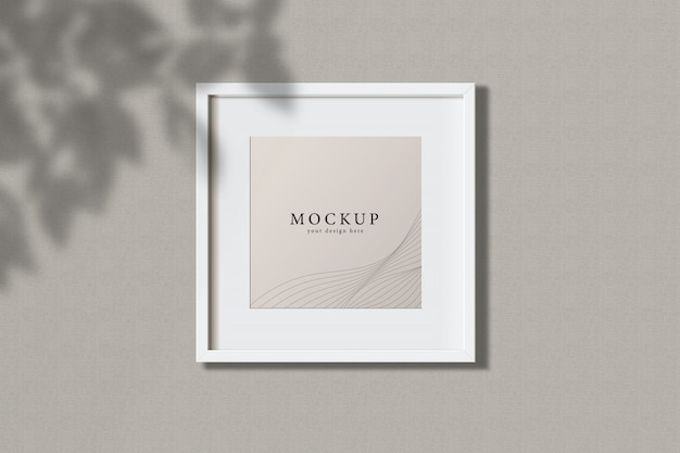 Minimal empty square white frame picture mock up hanging on wall background with leaves window. isolate vector illustration.