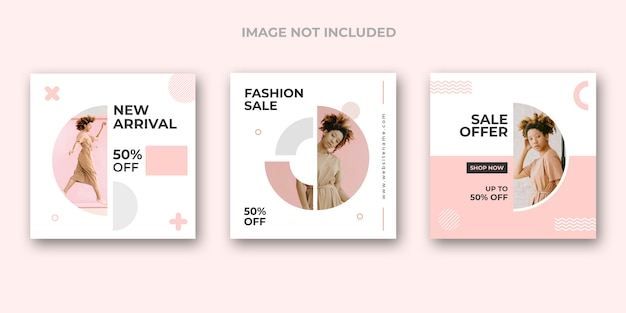 Minimal fashion instagram banner set