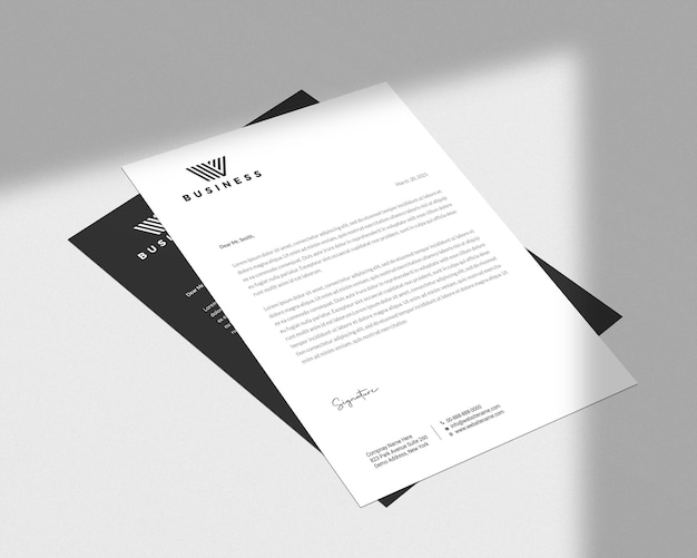Minimal flyer and letterhead mockup