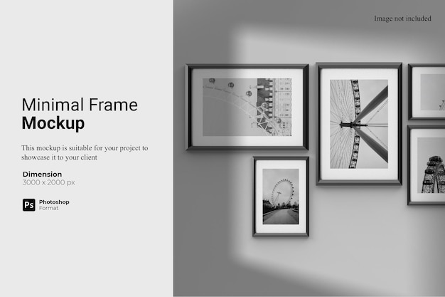 Minimal frame mockup design isolated