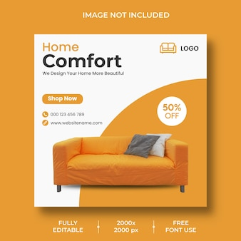 Minimal furniture instagram post template