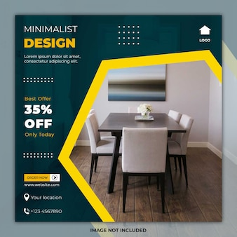 Minimal furniture template social media post