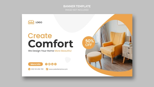 Minimal furniture web banner template