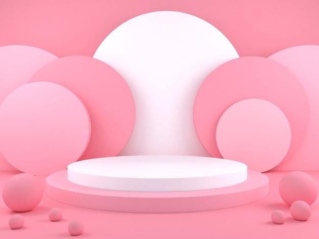 제품 프레 젠 테이 션 3d 렌더링 그림에 대 한 최소한의 기하학적 연단 파스텔 색상 배경