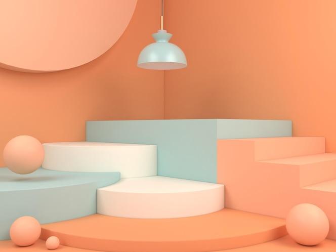製品プレゼンテーションの3dレンダリングイラストの最小限の幾何学的な表彰台パステルカラーの背景