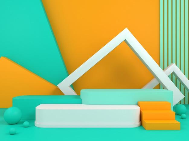 Minimal geometric podium pastel color background for product presentation 3d rendering illustration