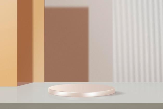 최소한의 기하학적 제품 배경 모형 psd, 파스텔 오렌지 및 핑크 톤