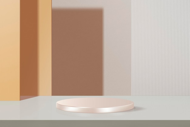 Minimal geometric product backdrop mockup psd, pastel orange and pink tone
