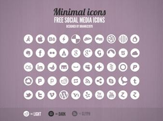 Minimal grey social media icons rounded