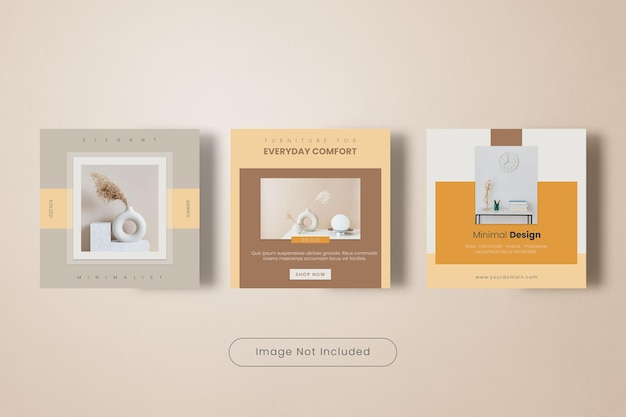 Minimal home furniture instagram post template banner collection