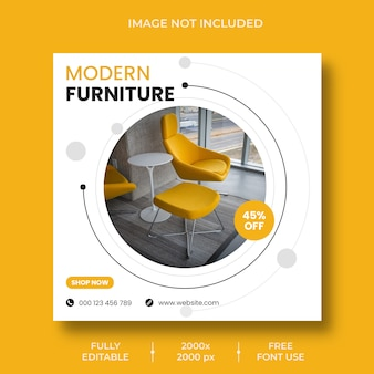 Minimal interior design furniture instagram post template