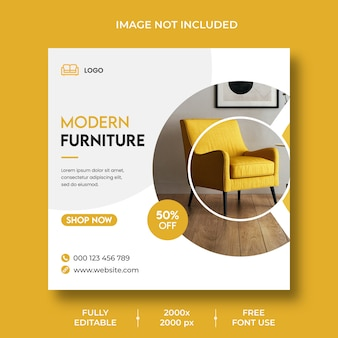Minimal interior design social media post templates