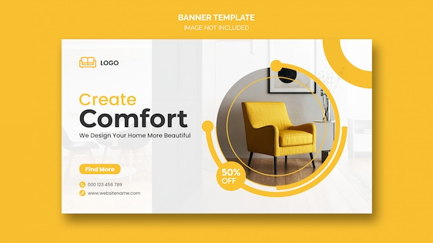 Minimal interior design web banner templates
