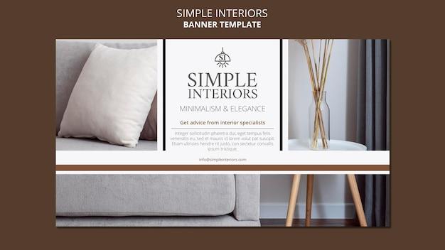 Minimal interiors horizontal banner template