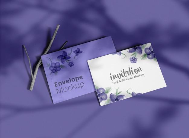Minimal invitation envelope with card mockup