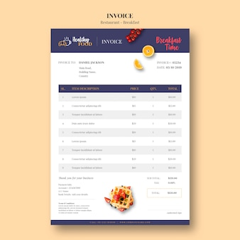 Minimal invoice template for restaurant