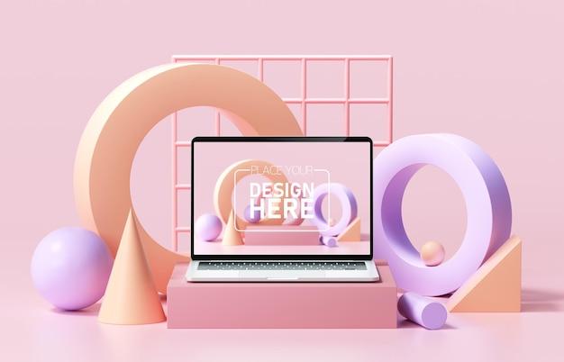 ピンクの背景に抽象的な幾何学的形状と最小限のラップトップのモックアップ