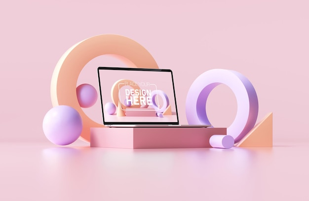 Minimal laptop mockup with abstract geometric shapes on pink background