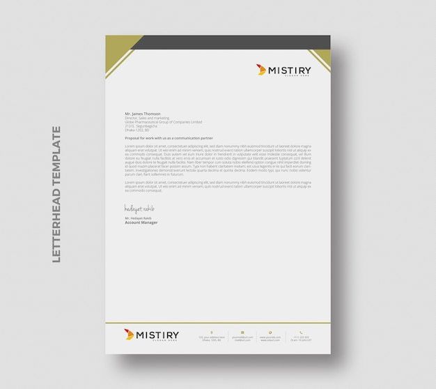 Minimal letterhead pad stationary template design