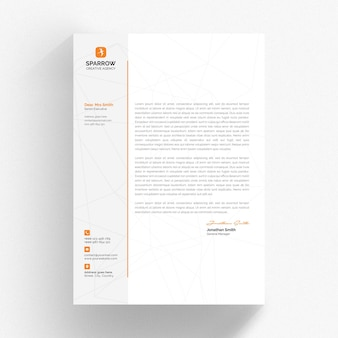 Minimal letterhead template with orange details