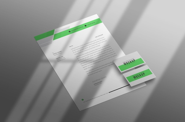Minimal letterhead with business card mockup