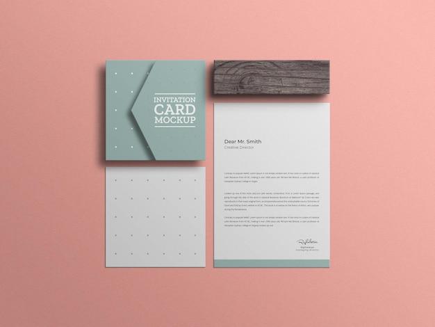 招待カードのモックアップ付きの最小限のレターヘッド