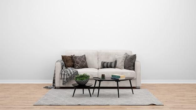 クラシックなソファとカーペット、インテリアデザインのアイデアを備えた最小限のリビングルーム