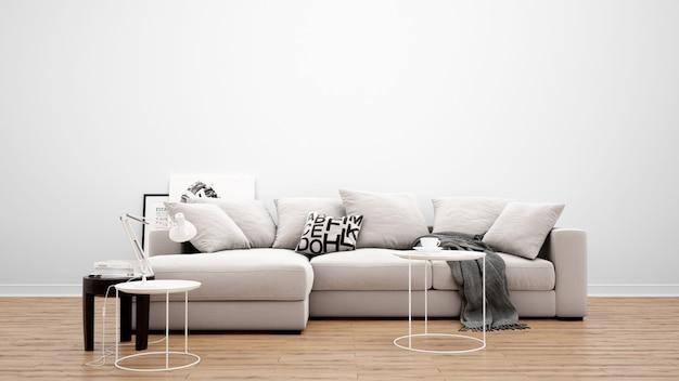 클래식 소파와 카펫, 인테리어 디자인 아이디어가있는 최소한의 거실