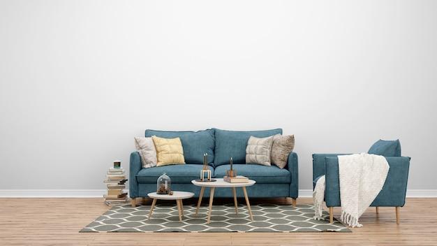 Minimal living room with classic sofa and carpet, interior design ideas