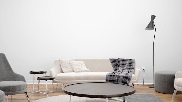 Минимальная гостиная с диваном и центральным столом, идеи дизайна интерьера