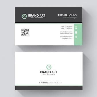 Minimal modern business card design with green details