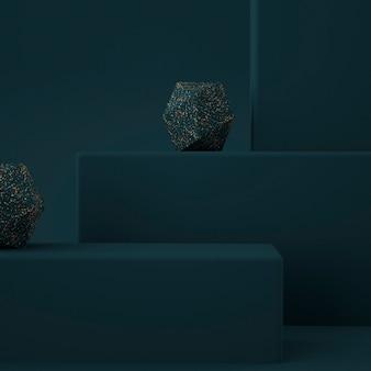 Минималистичный современный подиум с мраморной терраццо 3d-рендеринга
