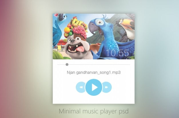 Minimal music player ui design psd