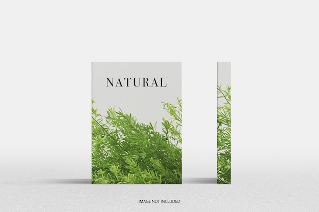 Minimal natural magazine cover and pine pattern mockup