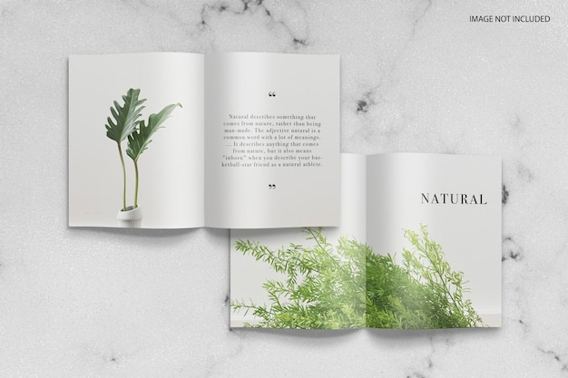 Minimal natural magazine pattern mockup