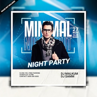Minimal night party flyer template or social media post