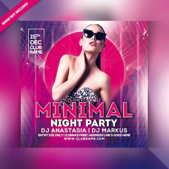 Minimal night party flyer