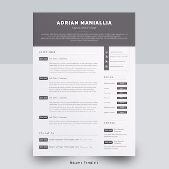 Minimal one page resume template in word