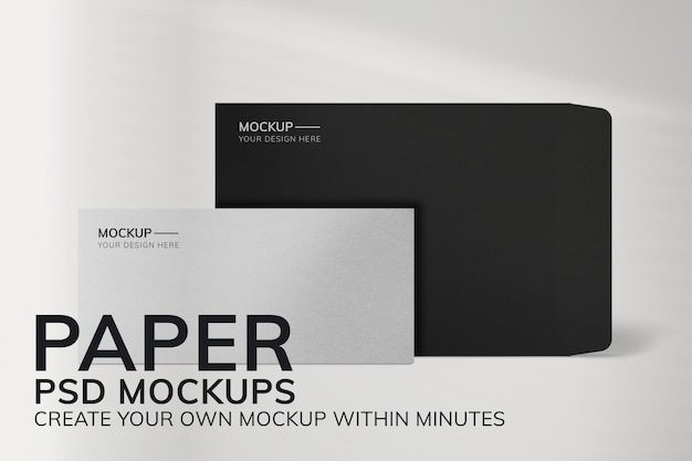Минимальный бумажный макет psd канцелярские товары с конвертом