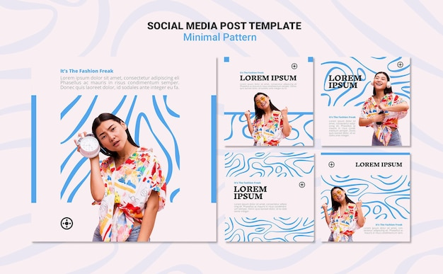Minimal pattern social media post template
