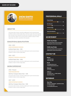 Minimal personal resume template design