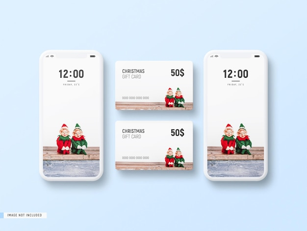 Minimal phone mockup and christmas gift card mockup