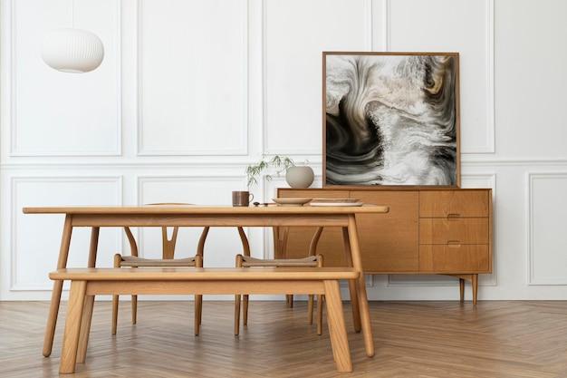 Minimal picture frame mockup psd with scandinavian design