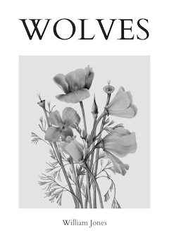 Minimal poster template psd with flowers in black and white