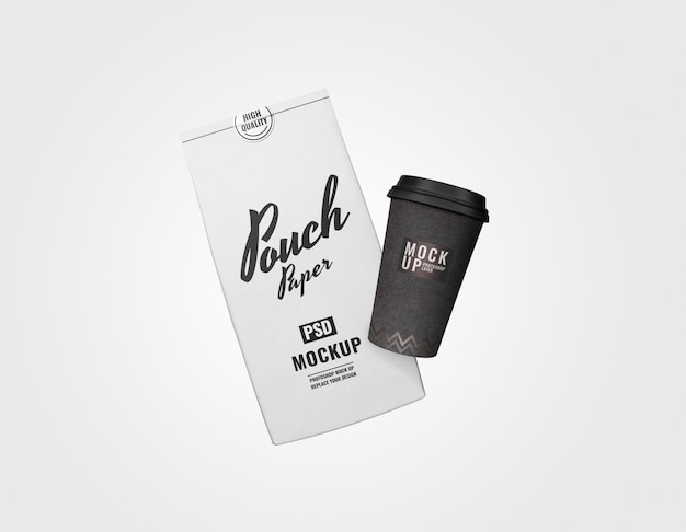 Minimal pouch and cup set mockup advertising