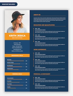 Minimal professional dark resume template design with photo