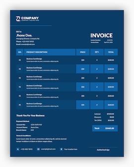 青いビジネス請求書テンプレートデザインで最小限のプロフェッショナルダーク