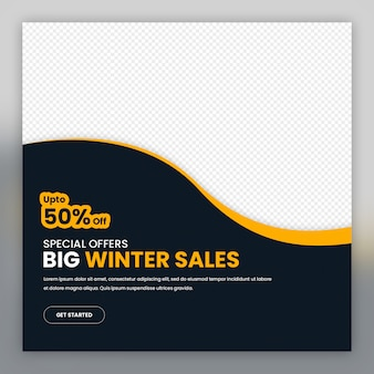 Minimal promotional social media banner template